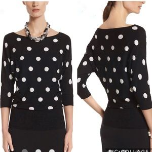 EUC White House Black Market polka dot sweater